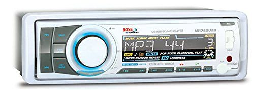 BOSS AUDIO MR752UAB Marine Single-DIN CD/MP3 Player Receiver, Bluetooth, Detachable Front Panel, Wireless Remote. Weather Proof 60 Watts x 4 Max Power, RDS Tuner, Balance/Fader/Bass/Treble and Preset built-in EQ. Plays CD/USB/SD, MP3, FM/AM and Smart Phones. Compatible with Audio out from Smartphones and MP3 Players. USB, SD, Aux, Inputs. Front & Rear Pre Amp Outputs. Detachable Panel, Wireless Remote, Bluetooth App Control. Bluetooth Hands Free & Bluetooth Audio Streaming - play music…