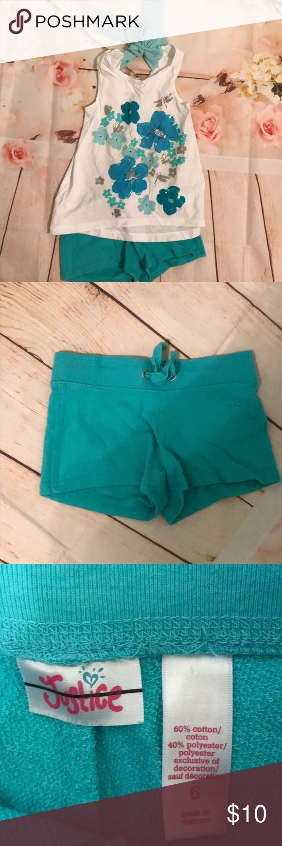 Justice girls teal shorts EUC Justice girls teal short EUC. Goes perfect with the shirt paired with it that you can also find in my closet! Feel free to bundle and save! Size: 6 Colors: teal Justice Bottoms Shorts