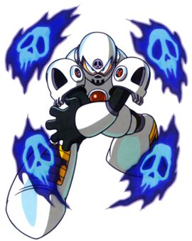 """""""Skull Man,"""" one of the robot masters from """"Mega Man 4,"""" released by Capcom for the Nintendo Entertainment System in 1991 / 1992."""