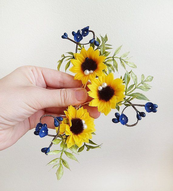 0aa32a456f49c 3 sunflower hair pin, sunflower hair piece, royal blue hair flowers ...