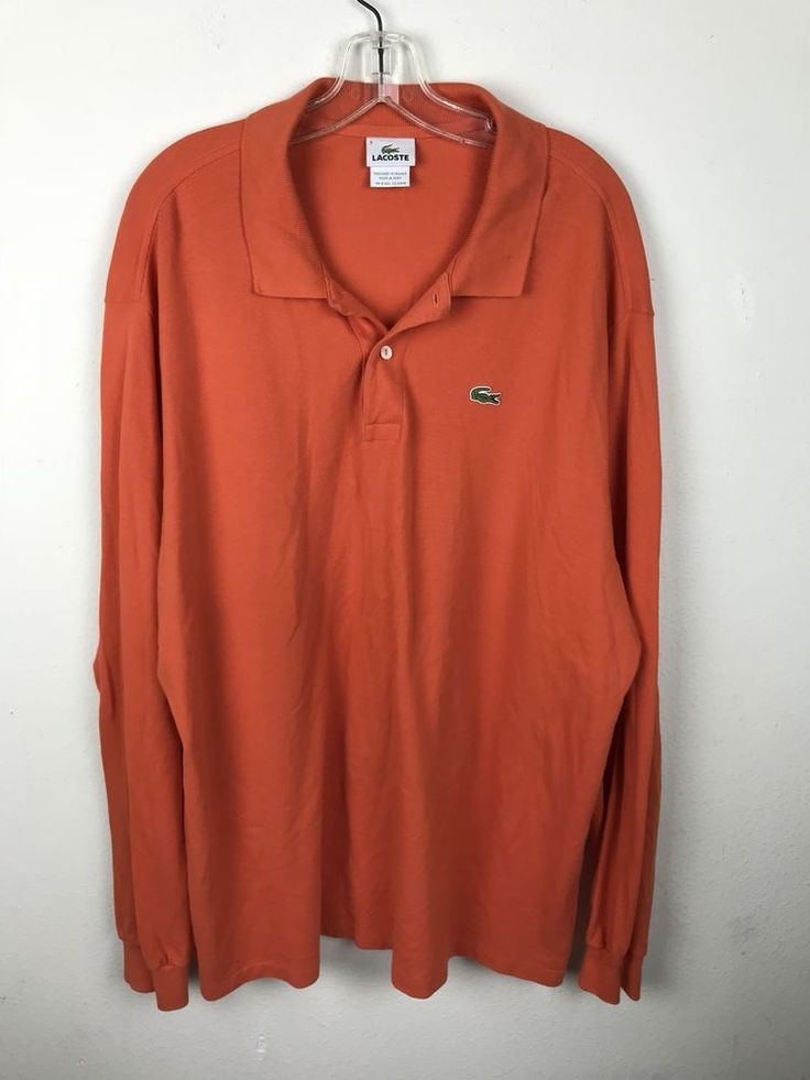 Lacoste Polo Shirt Mens Size 9 2XL XXL Collar Alligator Orange Rugby Long Sleeve #Lacoste #PoloRugby