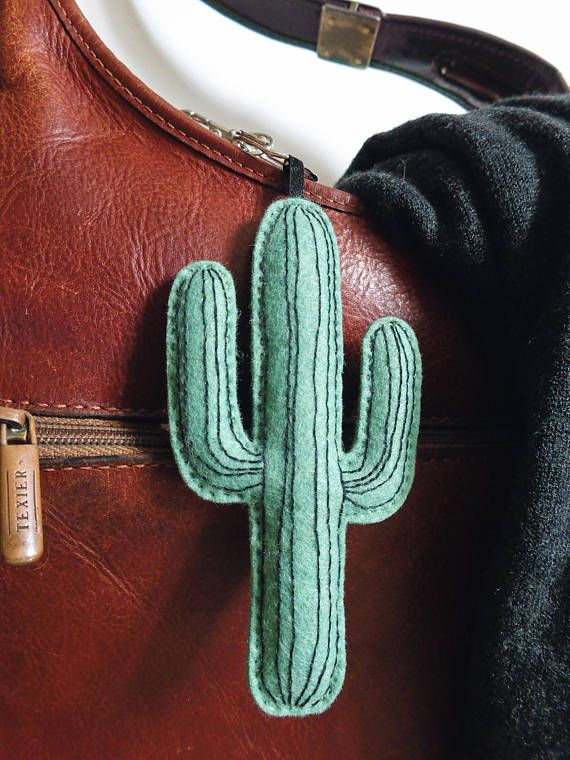 Cactus giant keychain felt wool fabric embroidery succulent plant organic cotton urban jungle green natural folk tropical hand made