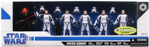 Star Wars 2009 Exclusive Joker Squad Set of 6 Action Figures (Includes First Ever Female Stormtrooper!). <ul> Entertainment Earth Exclusive! Limited edition<i> Star Wars</i> collectibles. 6 Joker Squad Action Figures based on the comic book series!. 5 unique Stormtroopers and a Sith Lord to lead them. Includes the first-ever female Stormtrooper! The legacy of the Empire is here!. </ul> <img src='http://images.entertainmentearth.com/ads/HS87923_figs.jpg' border=0 alt='EE Exclusive Star…