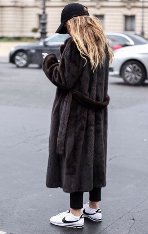 Fur coat and sneakers