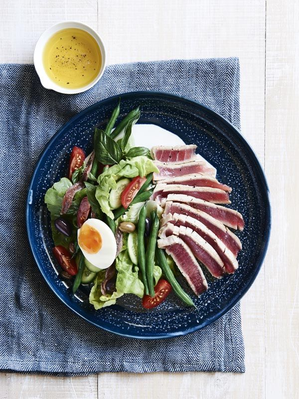Classic Salad Niçoise with fresh tuna.