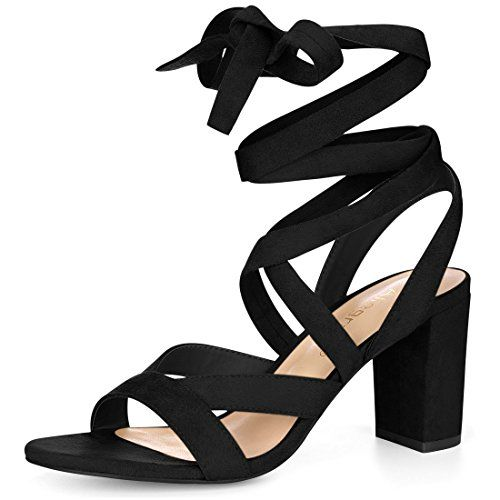 e1c94d1e059 New Allegra K Women s Crisscross Chunky Heel Lace UPS online. Find great  deals on Aquazzura Sandals-shoes from top Shoes store. Sku  xkry45201zzox76536