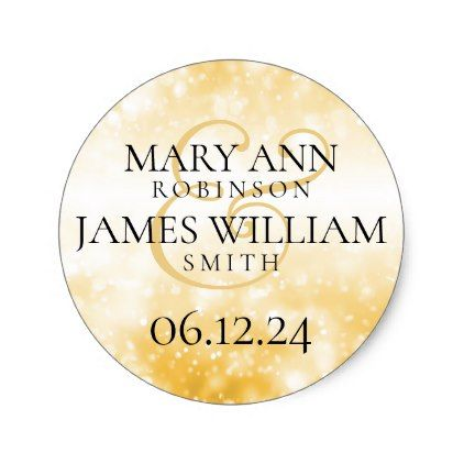 Wedding Save The Date Gold Shimmer Lights Classic Round Sticker - elegant gifts gift ideas custom presents