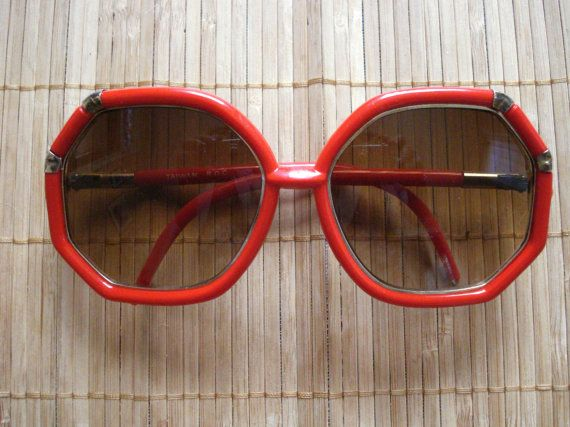 Vintage 1970s Sunglasses Red Octagonal Taiwan ROC by bycinbyhand, $34.00