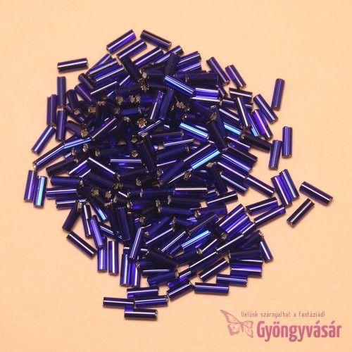 Ezüst közepű lilás sötétkék, 7 mm-es cseh szalmagyöngy (10 g) • Gyöngyvásár.hu