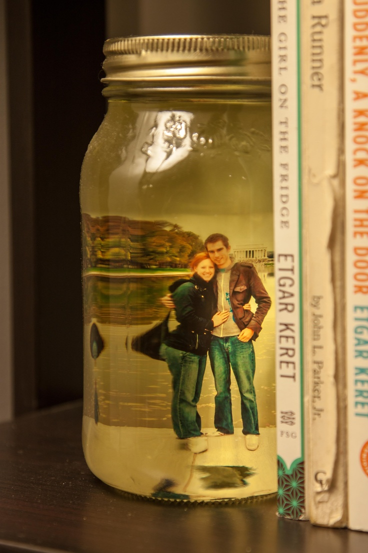 Picture in a mason jar filled with olive oil projects i for Mason jar bookends