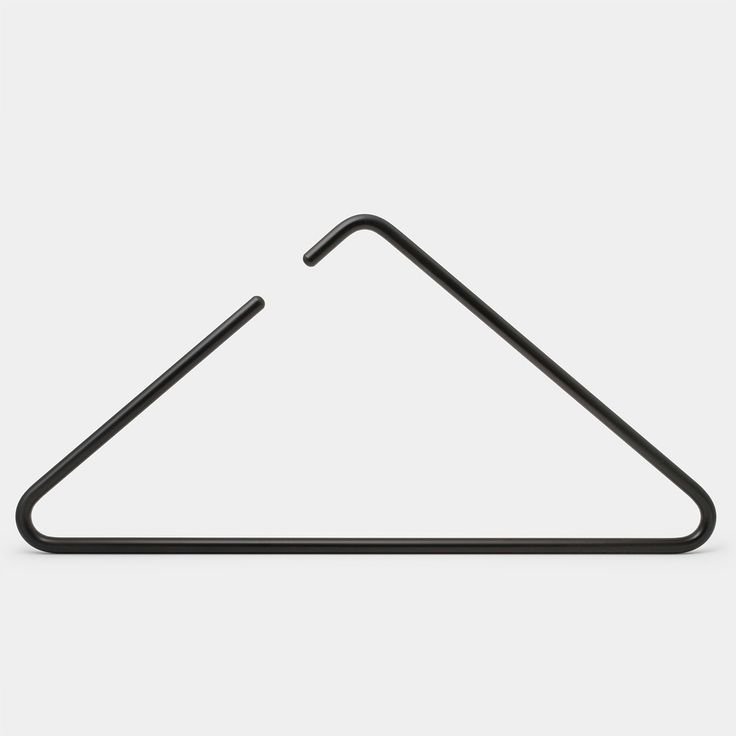 clothes hanger from designers Christine Nogtev and Chul Cheong of  Berlin-based design studio Roomsafari.  Inspired by the eponymous percussion instrument, this exceptionally minimal  design features a hollow aluminum triangle, with an opening that replaces  the hooks of conventional hangers.