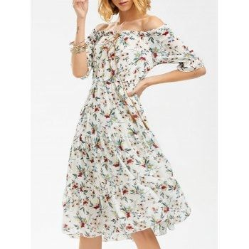 SHARE & Get it FREE | Off The Shoulder Floral Print Chiffon DressFor Fashion Lovers only:80,000+ Items·FREE SHIPPING Join Dresslily: Get YOUR $50 NOW!