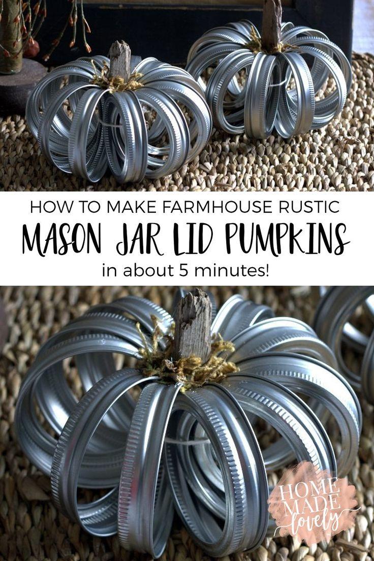 How to Make Farmhouse Rustic Mason Jar Lid Pumpkins