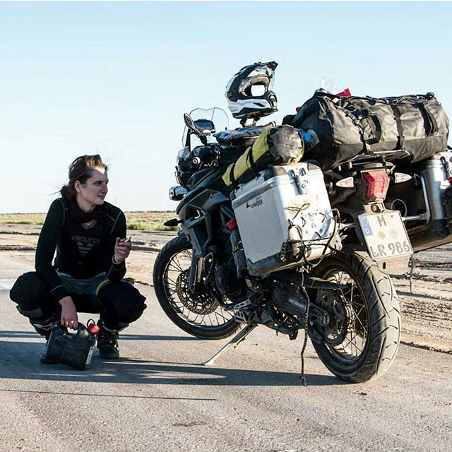 Are you following @lea_rieck? She's riding a #Touratech equipped #Triumph Tiger…