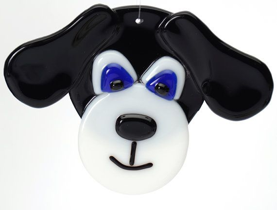 Black dog fused glass ornament by Artdefleur on Etsy, $15.00