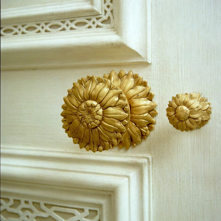 """""""Sunflower"""" door knob and thumb lock, in New Jersey country house, hardware and house designed by Howard Slatkin."""