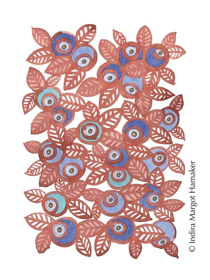 '3 Blue Berry' illustration, print, pattern by Indira Hamaker