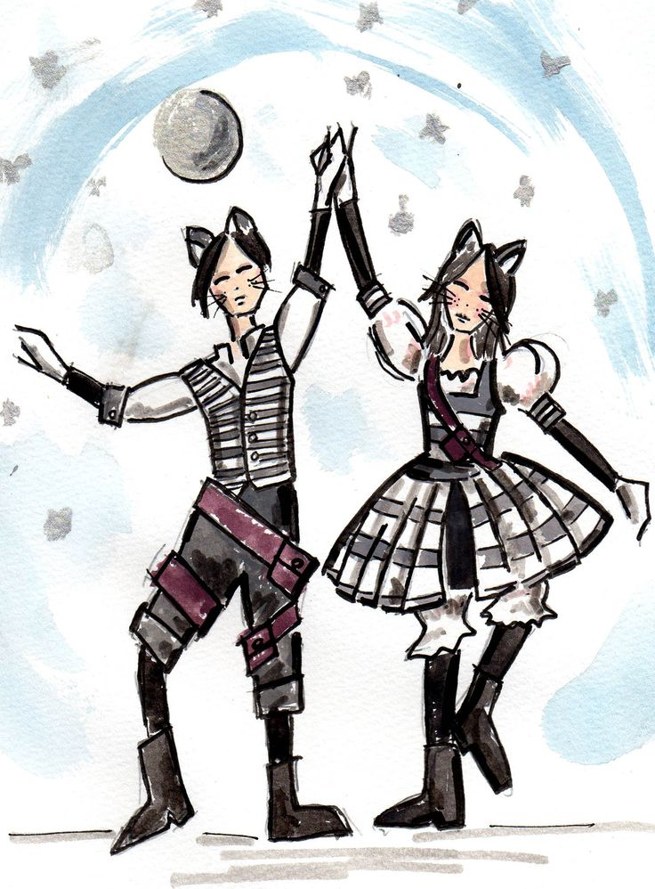 Jellicle Cats concept drawing by Trish Chamberlain for Blue Mountains Musical Society production of Cats