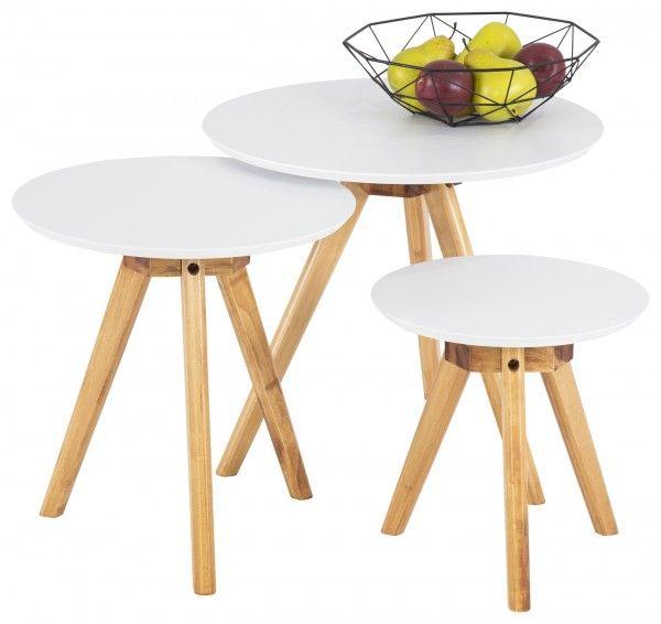 3er Set Beistelltisch Bobby Weiss Pappel 50x50cm 40x40cm 32x32cm Tisch Couchtisch Beistelltisch Couchtisch Beistelltische