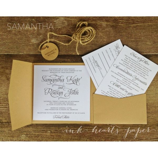 rustic vintage backyard calligraphy script pocket fold With classic wedding invitations melbourne