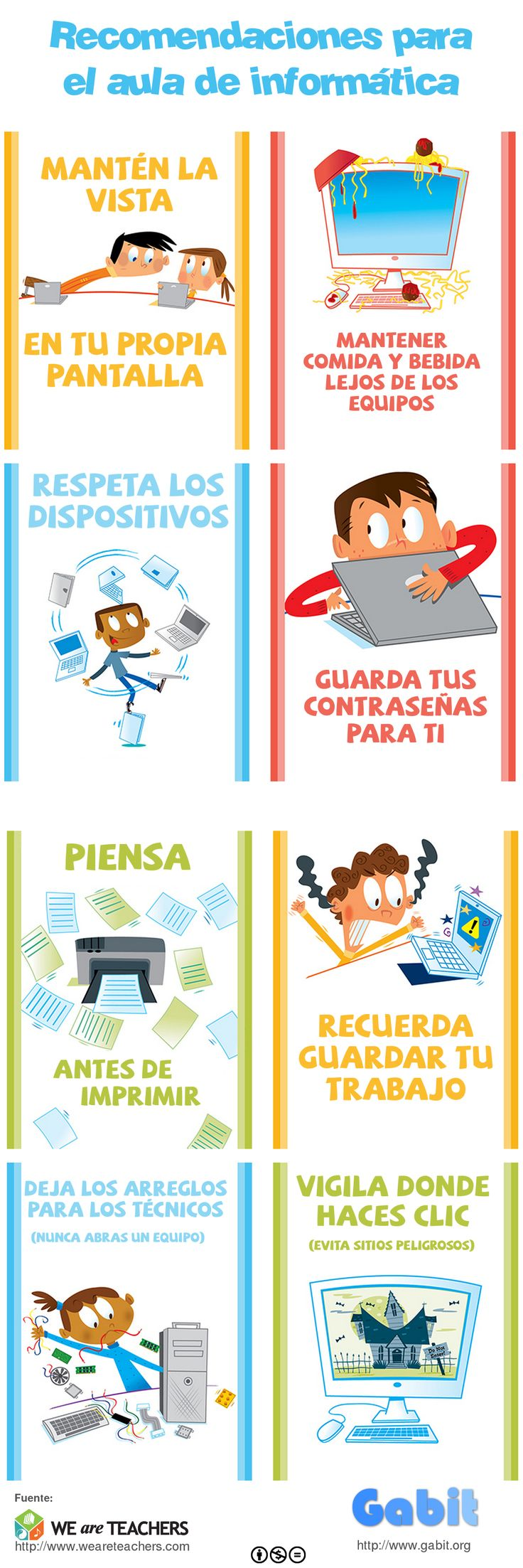 Infografía con recomendaciones diarias para el aula de informática
