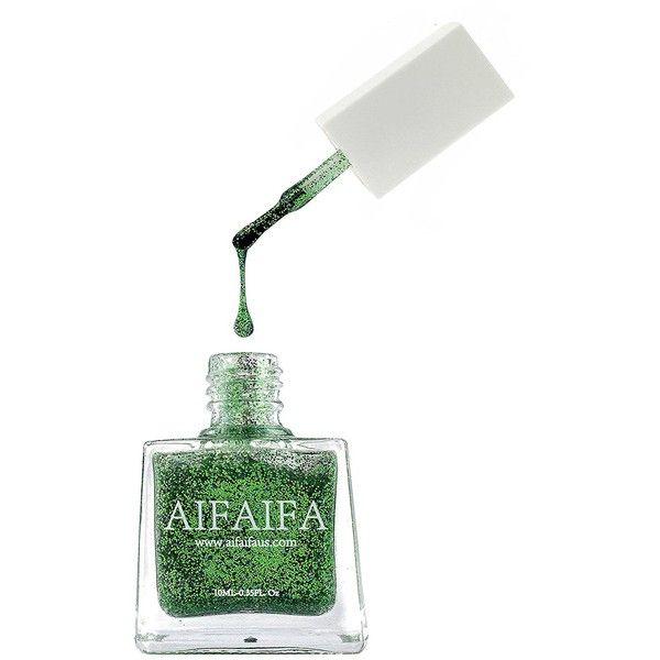 Aifaifa Water Base Nail Polish Dance Series D04 (Glitter Green) ($9.99) ❤ liked on Polyvore featuring beauty products, nail care and nail polish