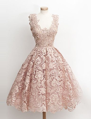 robe de soirée bal / cocktail - robe de bal v-cou genou dentelle avec de la…