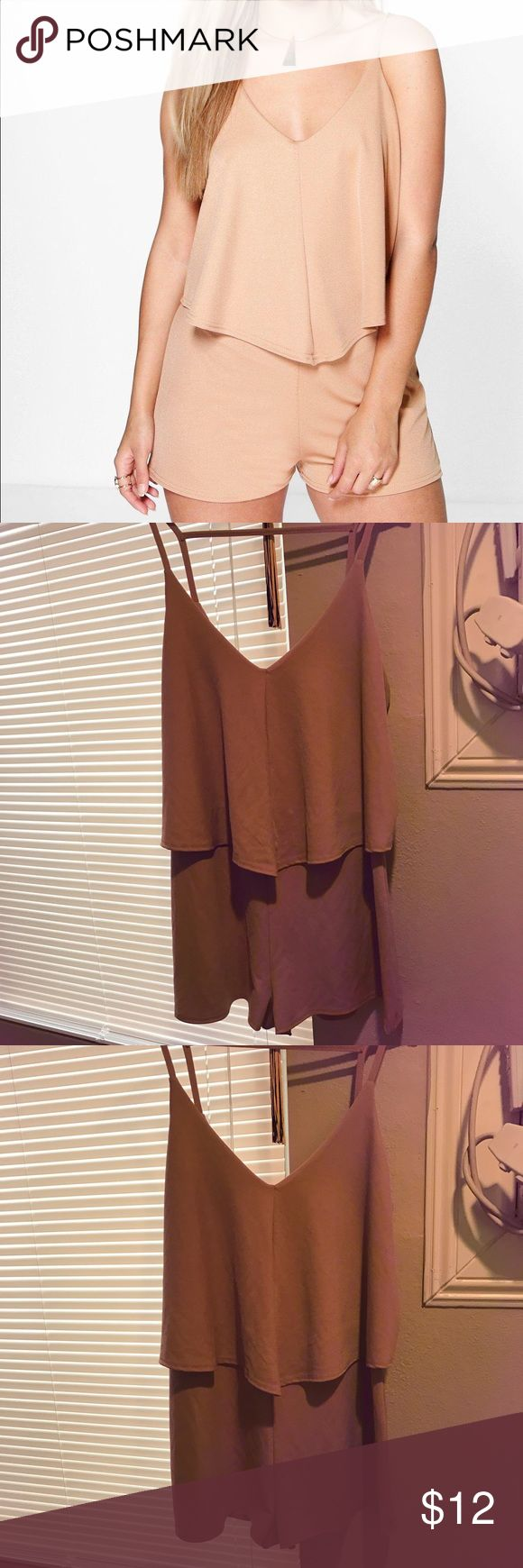Boohoo Plus Stephanie Double Layer playsuit Camel colored playsuit. Never worn. NO TRADES Boohoo Plus Other