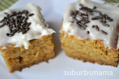 Suburbs Mama: Paula Dean's Pumpkin Bars- minus the jimmies!