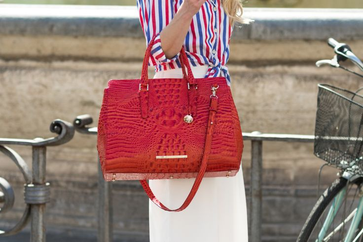 Meagan's Moda is July 4th ready with our Finley Satchel in Cayenne Melbourne