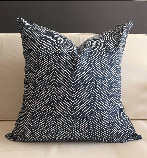 Navy Blue Pillow Cover - WAVES