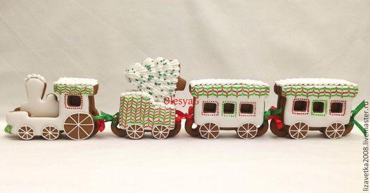 Кулинарные сувениры ручной работы. Ярмарка Мастеров - ручная работа. Купить Новогодний пряничный поезд красно-зеленый. Handmade. Пряник