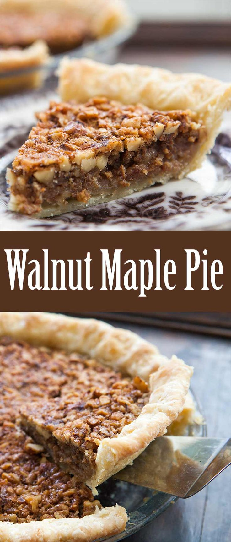 Walnut Pie! Similar to pecan pie, with fresh chopped walnuts, in a custardy base, sweetened with maple syrup.