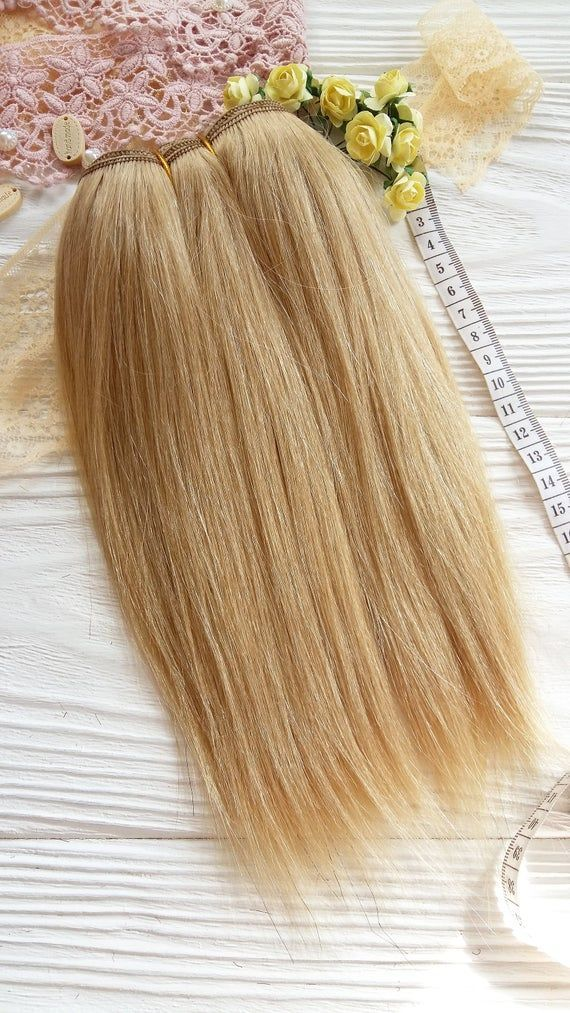 mohair weft Golden blonde straight doll hair wefte…