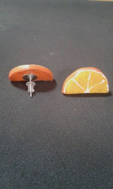 Orange Earrings - Cold porcelain clay