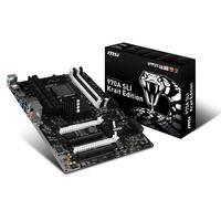 MSI 970A SLI KRAIT Edition (7693-050R)  - Supports AMD FX / Phenom II / Athlon II / Sempron processors for AM3 socket; - Supports DDR3-2133(OC) Memory; - USB 3.1: Delivering speeds up to 10Gb/s USB 3.1 offers performance twice as fast as a regular USB 3.0 connection; - USB 3.1  SATA 6Gb/s; - Military Class 4: Top Quality & Stability; - OC Genie 4: Overclock in 1 Second; - Click BIOS 4: Easily Fine-tune Your System; - Multi-GPU: NVIDIA SLI & AMD CrossFire Support; - Command Center: Control…