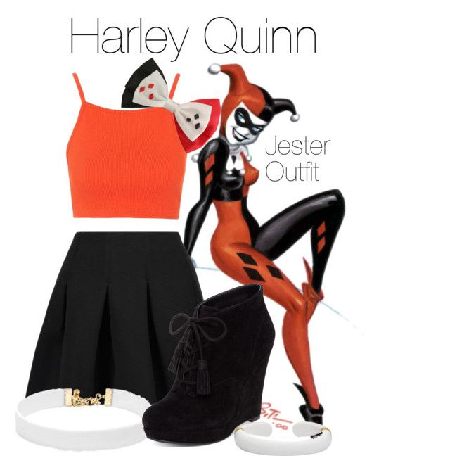 """Harley Quinn - Jester Outfit"" by brighterstars12 ❤ liked on Polyvore featuring T By Alexander Wang, Topshop, Vanessa Mooney, Jessica Simpson, Margot McKinney and DC Comics"