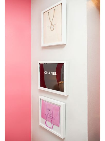 For my master closet. Framed bags as wall decor. Cute! I have a bunch of designer bags like that, that are just hanging out in my closet gathering dust.. I shall have to do this with them.....  Cute Idea, love that color pink too!
