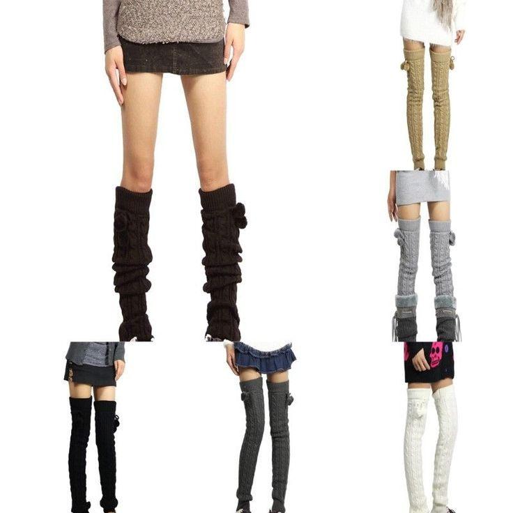 Winter Women Leg Warmers Knee High Thigh High Tie Cable knitted Long Boot Socks
