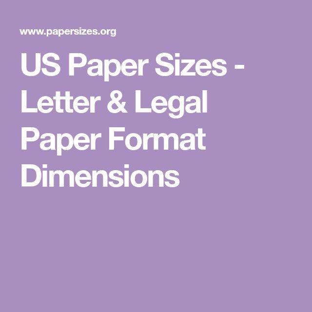 US Paper Sizes - Letter & Legal Paper Format Dimensions
