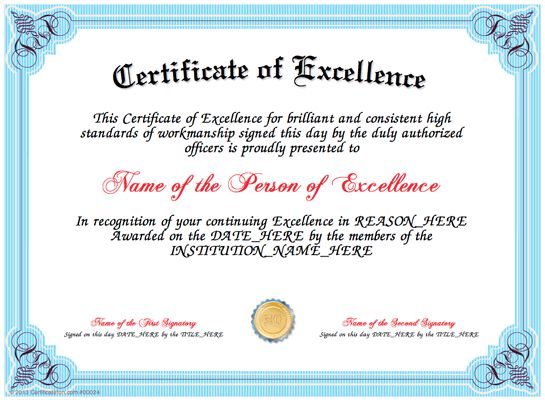 Excellence - Present a Certificate of Excellence to a ...