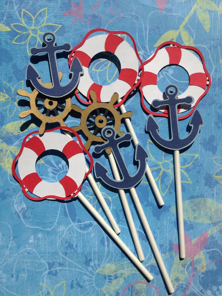 Set Of 24 Nautical Themed Party Cupcake Toppers Nautical