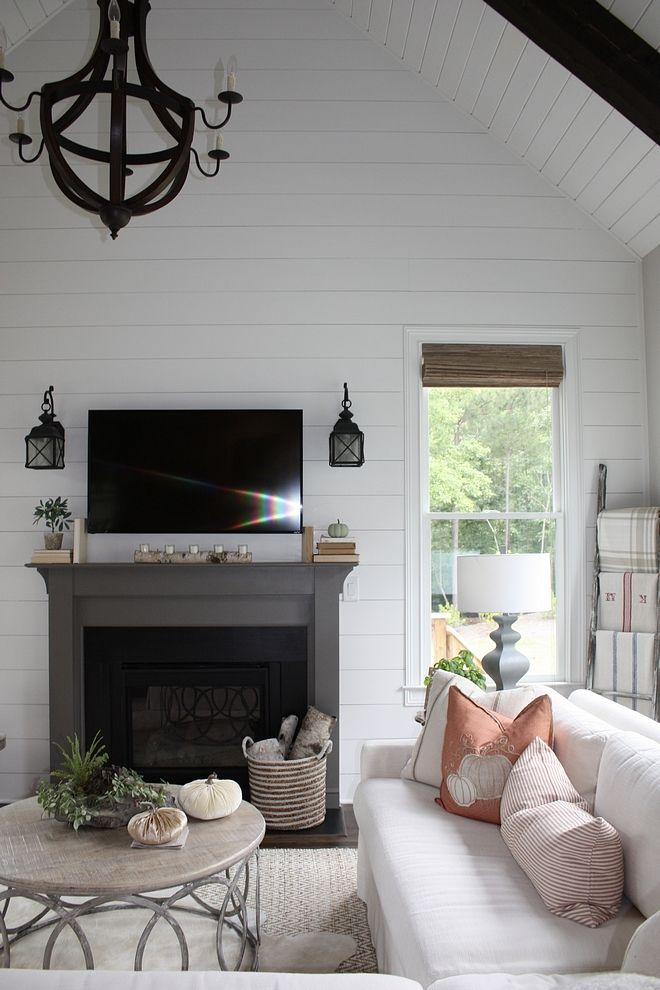 Shiplap Valted Ceiling With Shiplap And Beams Fireplace With Shiplap Accent Wall With Shipl Shiplap Living Room Accent Walls In Living Room Shiplap Accent Wall