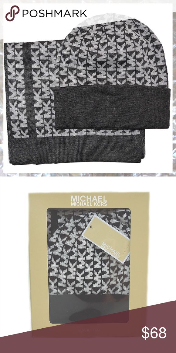 MICHAEL KORS Set Gray Signature Logo Scarf & Hat MICHAEL KORS Set Gray Signature Logo Scarf & Hat   Luxurious, lovely, & perfect for gift giving... or keeping for yourself. Scarf touts signature brand logo in contrasting color pattern on opposing sides and is approx 66 Inches/5.5 Ft - plenty of length to wrap around and around again... keeping warm? CHECK!! Will arrive in gift box, as shown in photos. Michael Kors Accessories