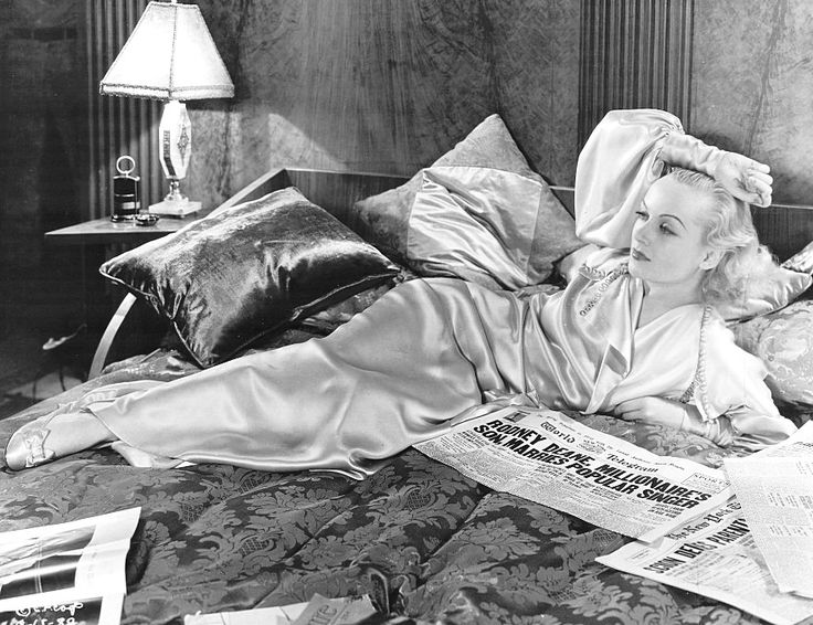 Carole Lombard in Brief Moment (David Burton, 1933) Her satin robe and slippers are by Robert Kalloch