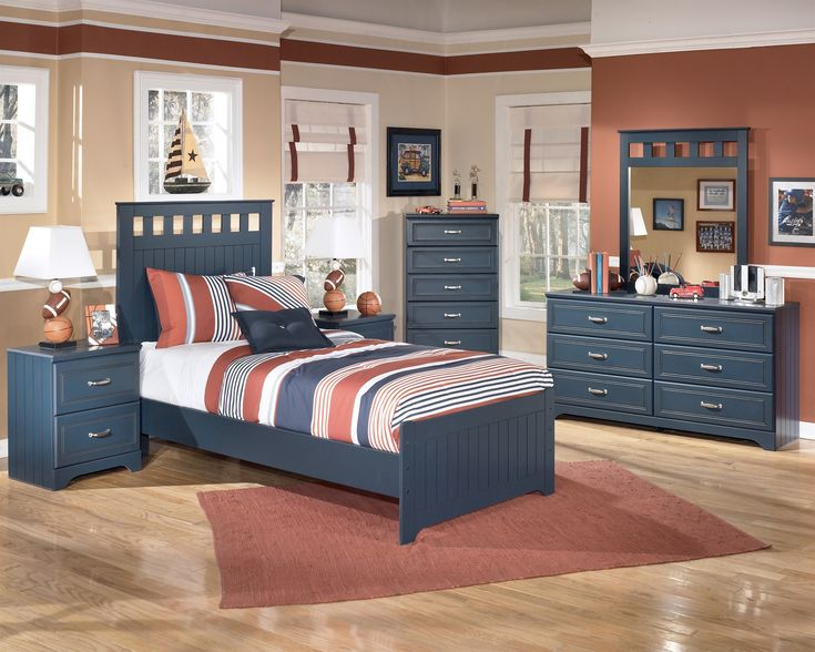 Captivating Blue Themed Twin Bedroom Furnitures Set With Wooden Bed And Bedside Table And Drawer And
