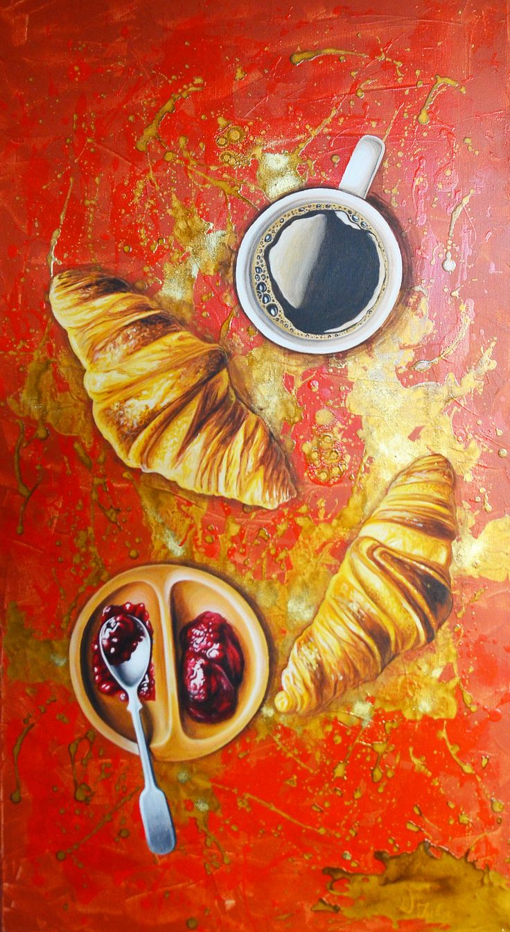 """Breakfast"" acrilic painting by Iulia Dinca"