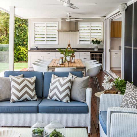 Outdoor Kitchen - like the couch for outdoor undercover furniture.. or a sunroom