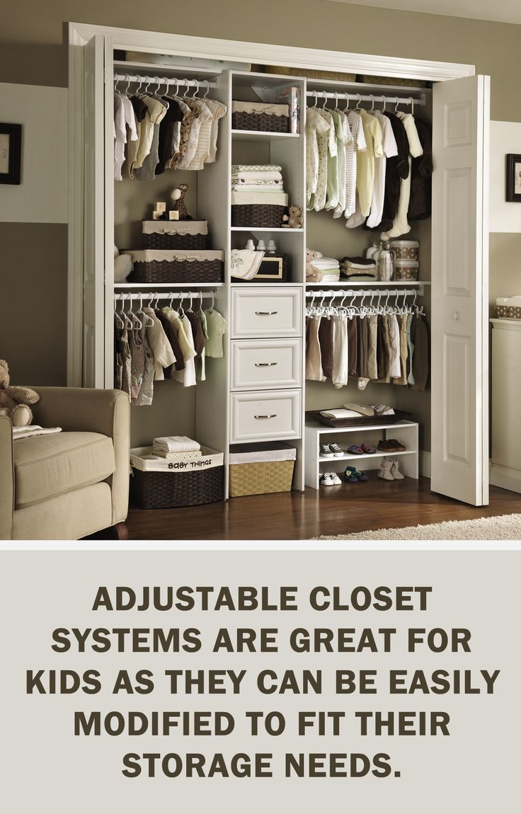 #LetsGetOrganized with @closetmaid: Adjustable closet systems are great for kids as they can be easily modified to fit their storage needs. #Organization #Closet #StorageTips