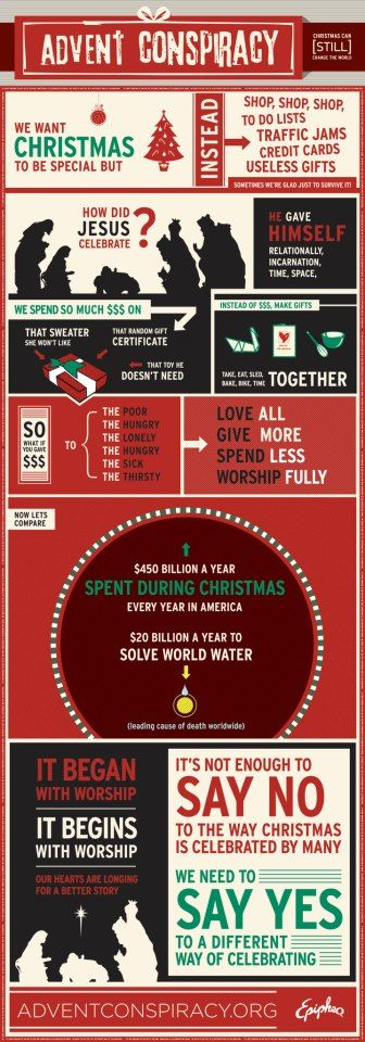 Advent Conspiracy (http://www.adventconspiracy.org/)  The part about how much we spend vs how much it would take to give the world fresh water...makes you think.